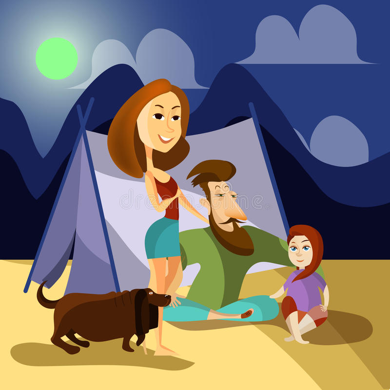 Rodzinny campingowy pojęcie plakat Wektorowi kreskówka charakterów ludzie Rodzina i pies siedzimy obok namiotu wakacje plenerowy ilustracja wektor
