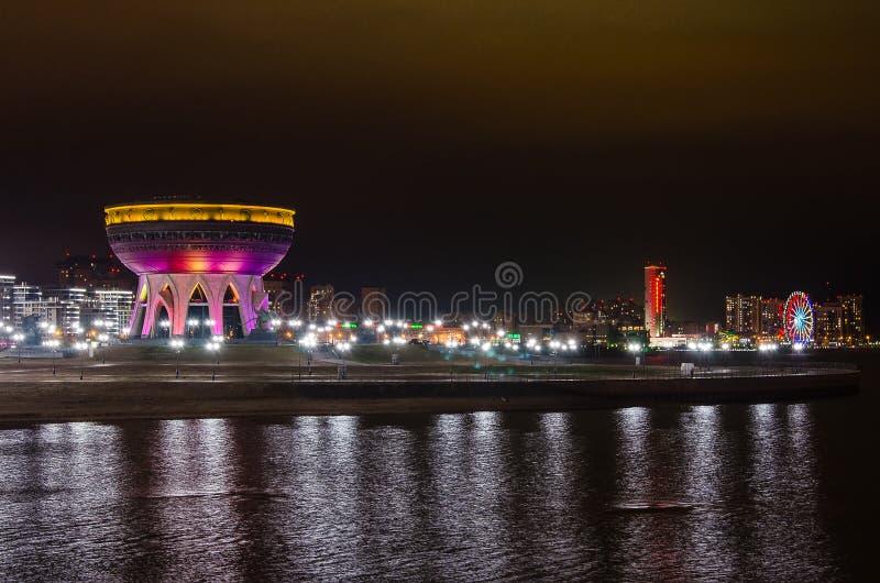 Rodzinny centre «Kazan «, noc widok w Kazan zdjęcie stock