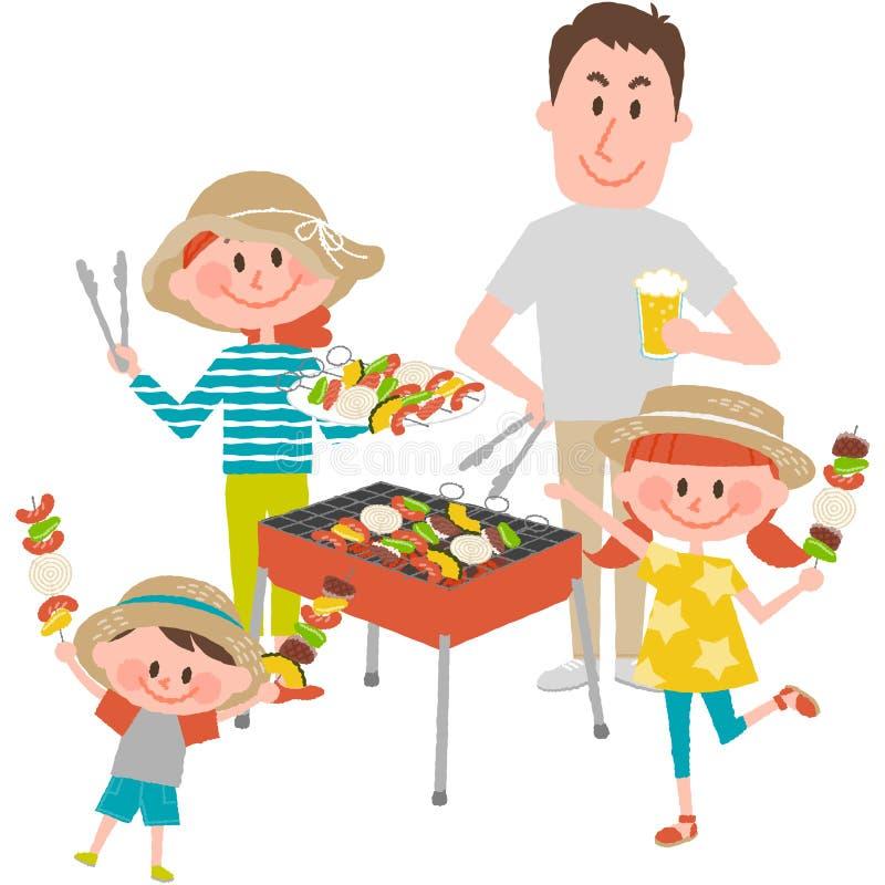 Rodzinny cieszy się grill outdoors ilustracja wektor