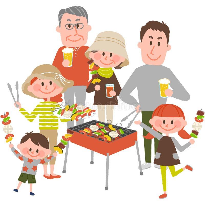 Rodzinny cieszy się grill outdoors ilustracji