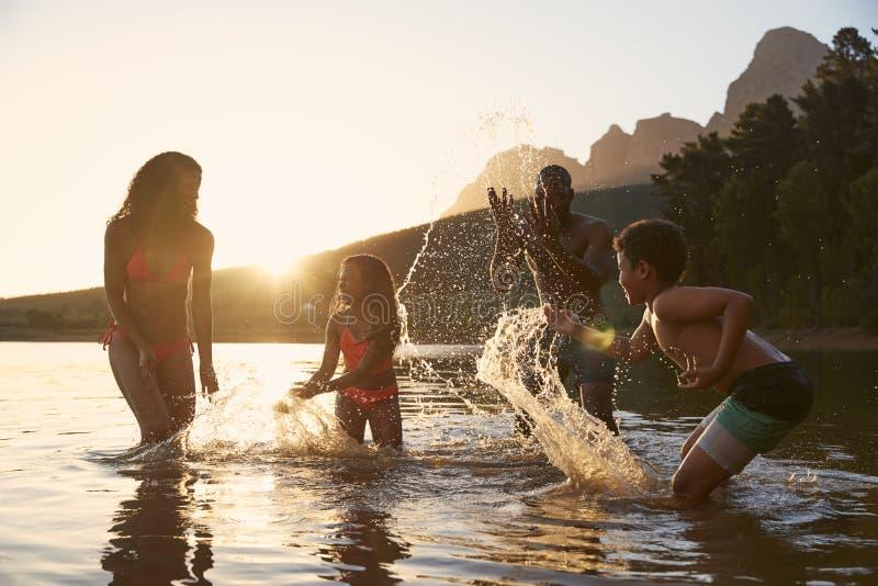 Rodzinny Cieszy się wieczór pływanie W Wieś jeziorze fotografia royalty free