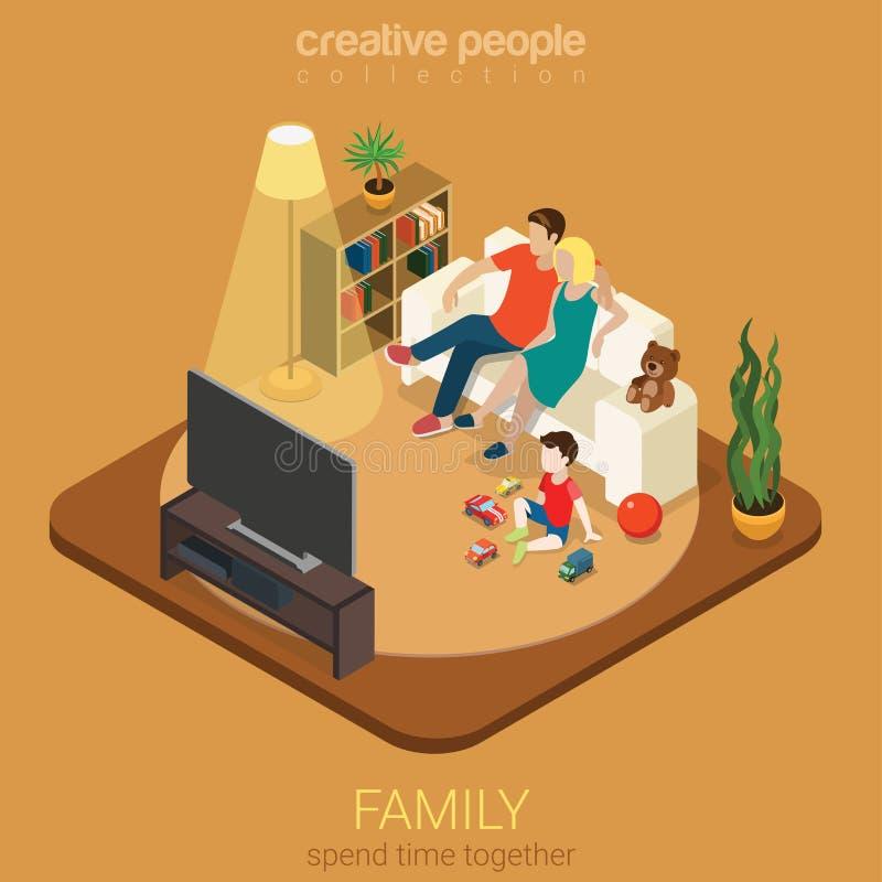 Rodzinny czas wychowywa mieszkanie 3d isometric: żywy izbowy ogląda TV royalty ilustracja