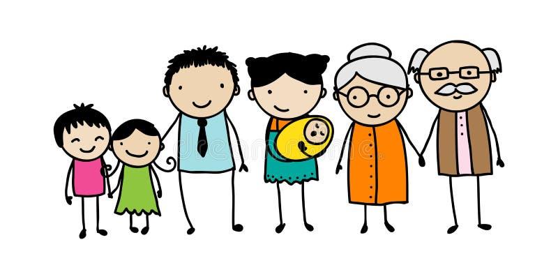 Rodzinny doodle ilustracji