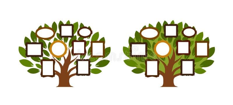 Rodzinny drzewo, genealogii ikona lub logo, obcy kreskówki kota ucieczek ilustraci dachu wektor ilustracja wektor