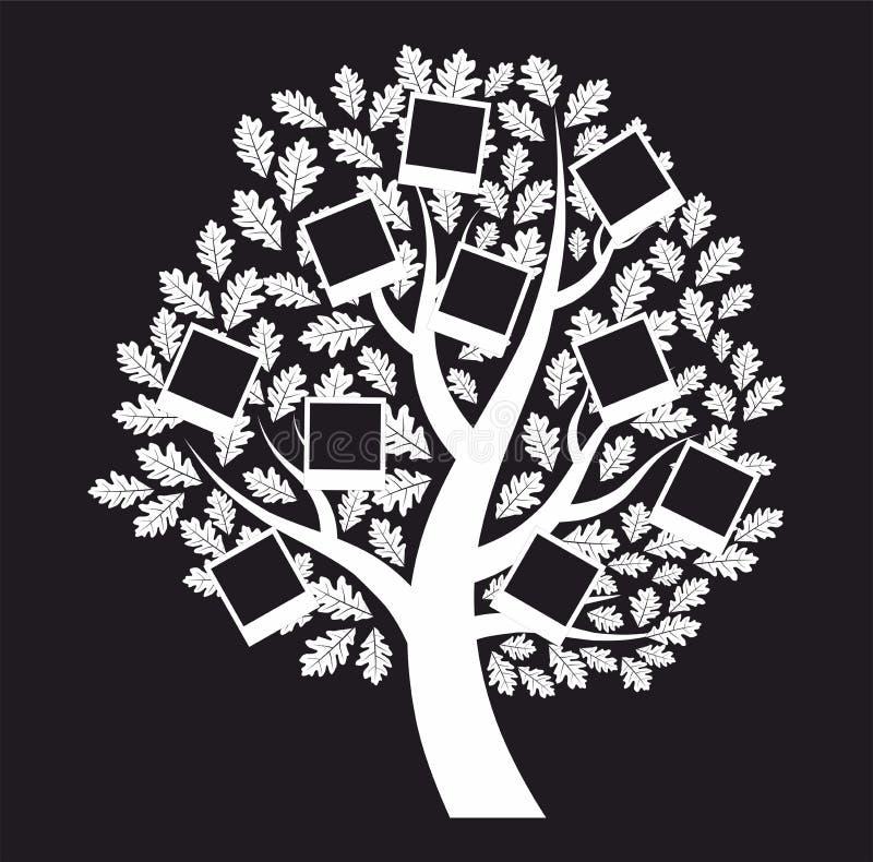 Rodzinny genealogiczny drzewo na czarnym tle, wektor ilustracja wektor