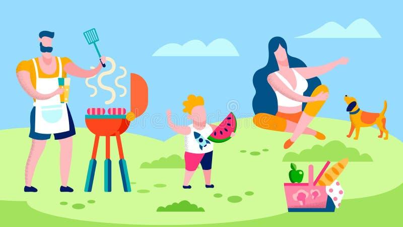 Rodzinny grill w wsi mieszkania ilustracji ilustracji