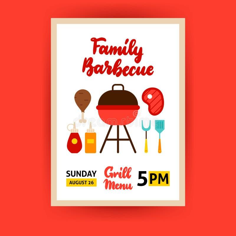 Rodzinny grilla plakat ilustracji