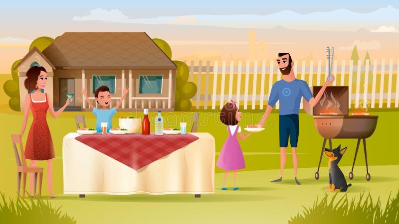Rodzinny grilla przyjęcie na podwórka wektoru pojęciu ilustracji