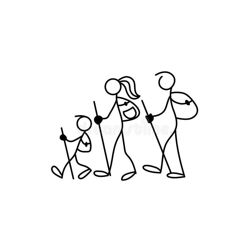 Rodzinny ikona kija postaci wektor ilustracji