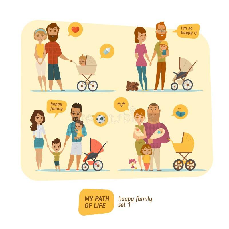Rodzinny infographic z elementami i charakterami royalty ilustracja