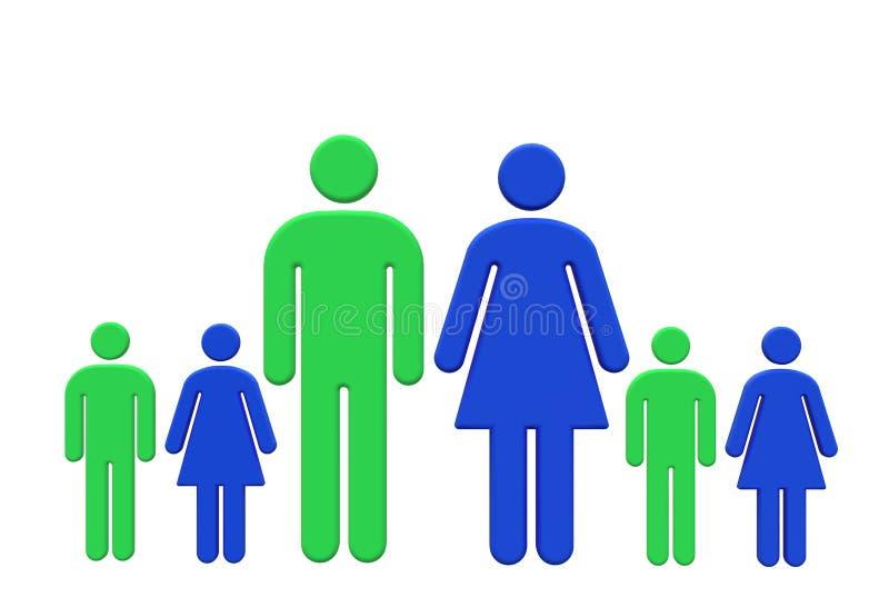 Rodzinny jądro z zielone męskie błękitne córki i matka ojca i syn kobiety royalty ilustracja