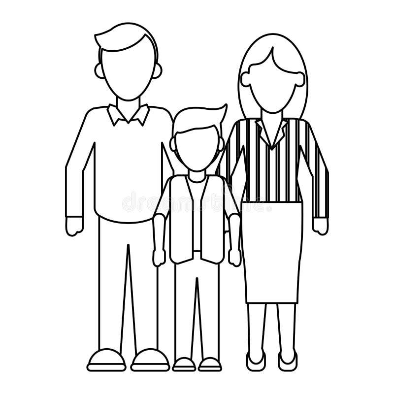 Rodzinny kierownictwo wychowywa z synem beztwarzowym w czarny i biały ilustracji