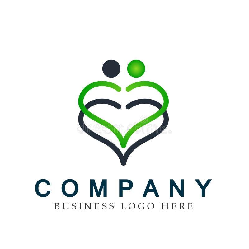 Rodzinny kierowy pary zjednoczenie w kierowym kształta logo ikony elementu wektorze na białym tle ilustracja wektor