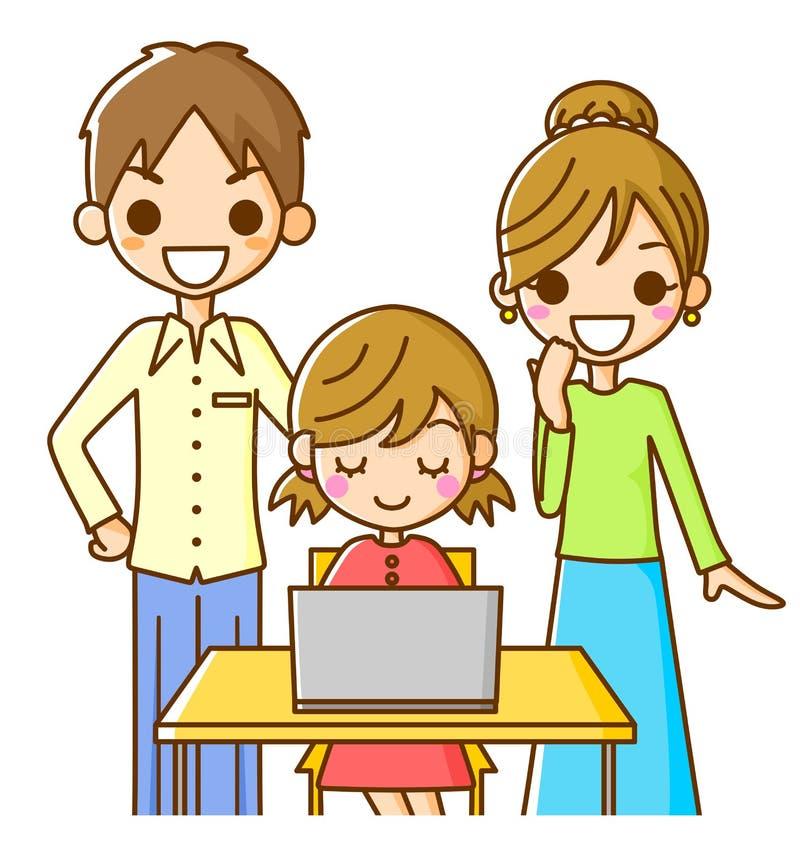 rodzinny komputer osobisty royalty ilustracja