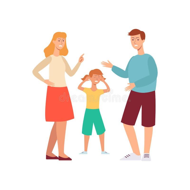 Rodzinny konflikt - gniewni ludzie dyskutuje przed smutnym nieszczęśliwym dzieckiem royalty ilustracja