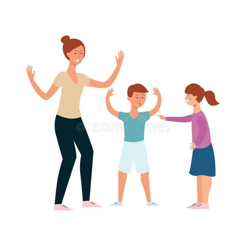 Rodzinny konflikt między dziewczyną i chłopiec rodzeństwami, gniewny macierzysty krzyczeć przy argumentowań rodzeństwami royalty ilustracja