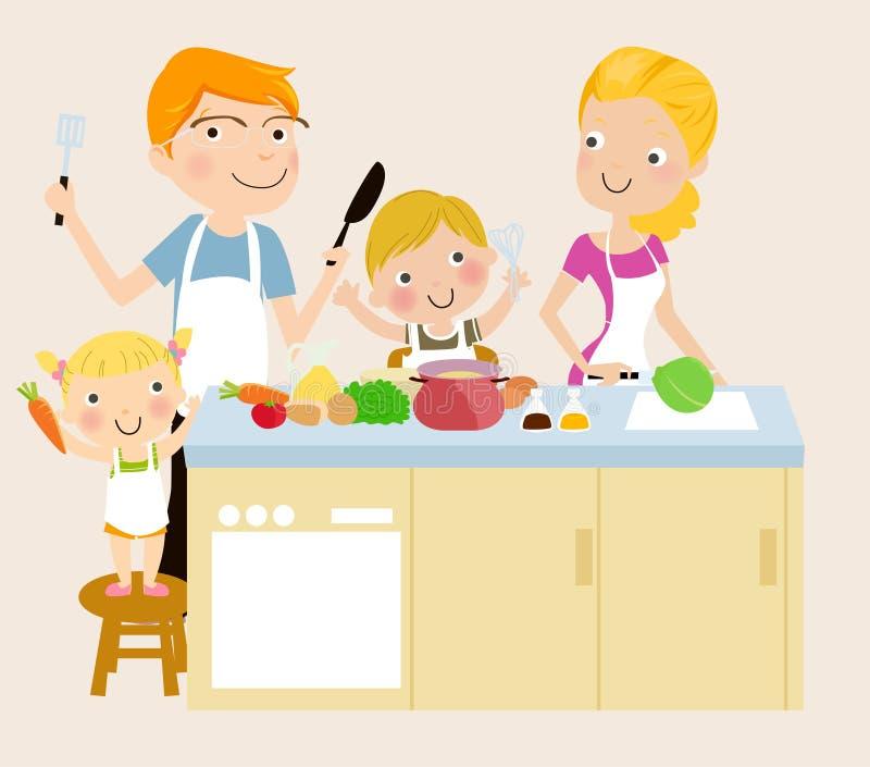 Rodzinny kucharstwo ilustracja wektor