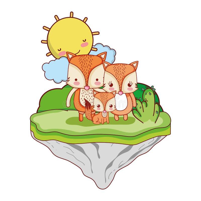 Rodzinny lisa zwierzę w pływakowej wyspie ilustracja wektor