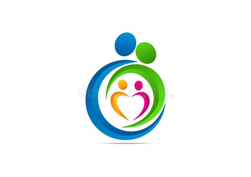RODZINNY logo, miłości pojęcie WYCHOWYWA symbolu projekt ilustracja wektor