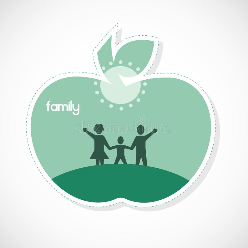 Rodzinny majcher - jabłko kształtujący royalty ilustracja