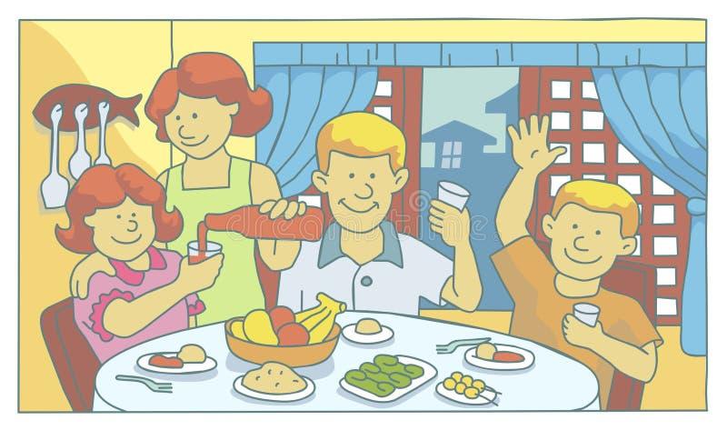 rodzinny mealtime ilustracja wektor