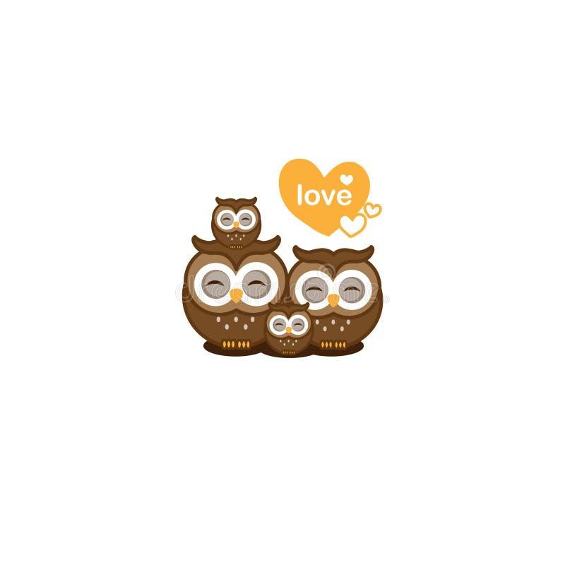 Rodzinny miłości kartka z pozdrowieniami Śliczne sowy dobierają się z dziecko sowy wektoru ilustracją ilustracji