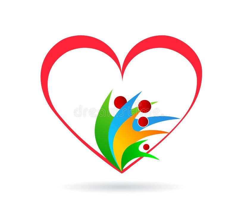 Rodzinny miłości opieki zjednoczenie w czerwonym kierowym firmy pojęcia logo ikony elementu znaku na białym tle ilustracja wektor