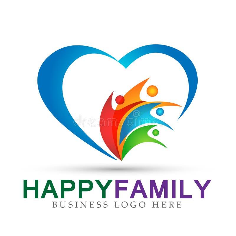 Rodzinny miłości opieki zjednoczenie w kierowym firmy pojęcia loga ikony elementu znaku na białym tle ilustracji