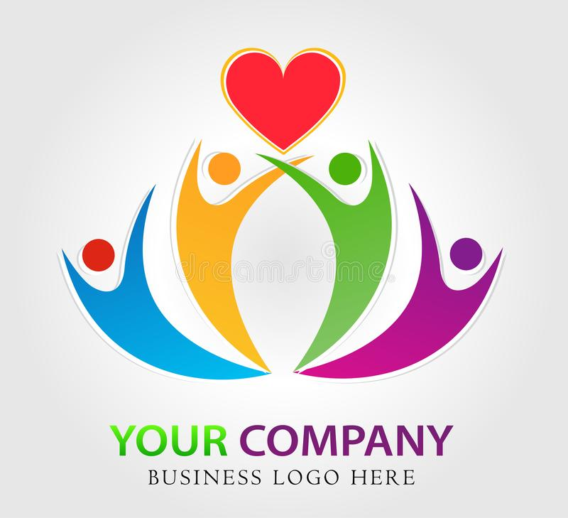 Rodzinny miłości opieki zjednoczenie z czerwonym kierowym firmy pojęcia logo ikony elementu znakiem na białym tle royalty ilustracja