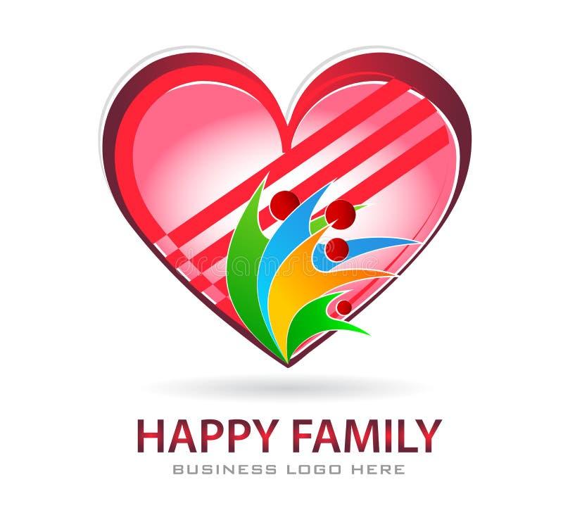 Rodzinny miłości opieki zjednoczenie z czerwonym kierowym firmy pojęcia logo ikony elementu znakiem na białym tle ilustracja wektor