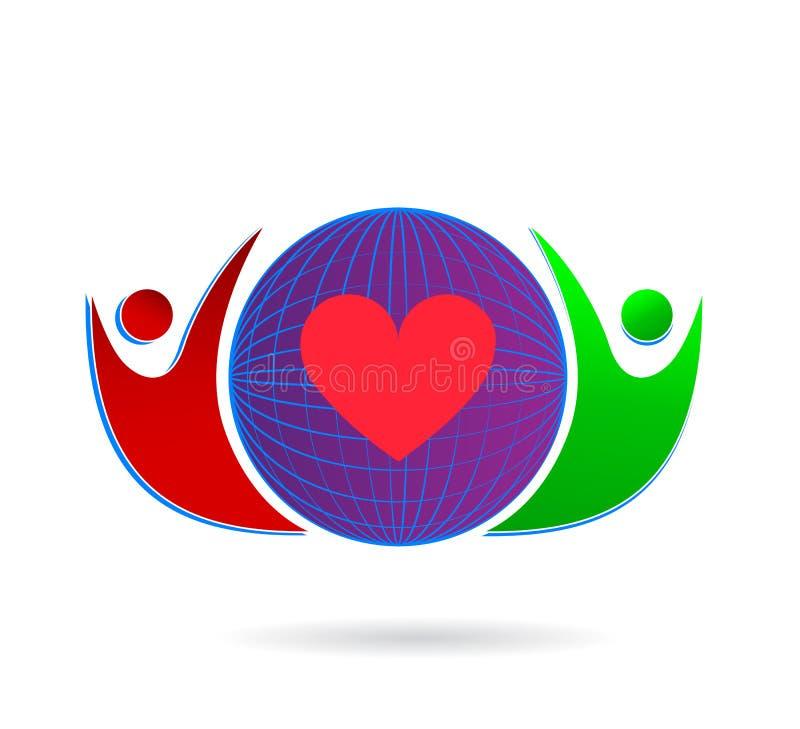Rodzinny miłości opieki zjednoczenie z czerwonym sercem w kuli ziemskiej firmy pojęcia logo ikony elementu znaku na białym tle royalty ilustracja
