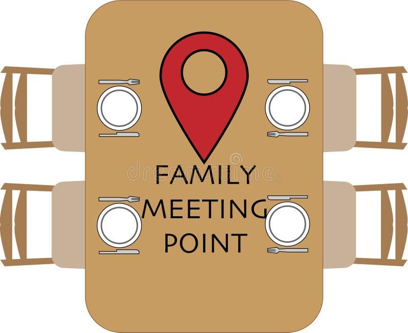 Rodzinny miejsce spotkania przy round sto?em ilustracji