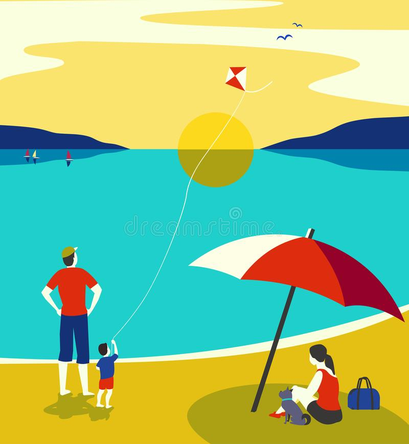 Rodzinny nadmorski czas wolny relaksuje ilustracji