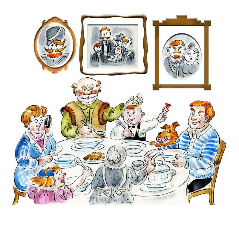 Rodzinny obiadowy stół royalty ilustracja