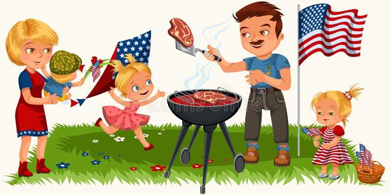 Rodzinny odpoczywać w parku lub ogródzie, tata opieczenia mięso na grillu, mum mienia dziecko, dziewczyny bawić się na zielonej t ilustracji