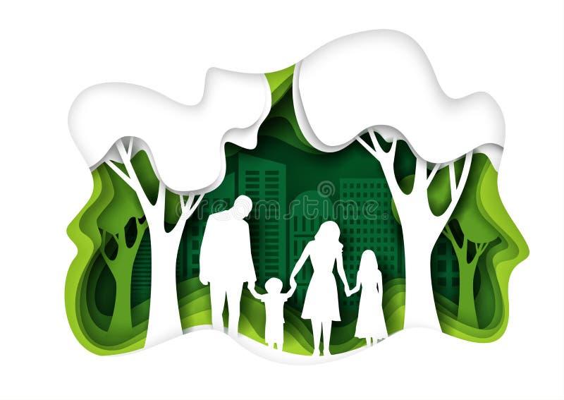Rodzinny odprowadzenie w eco zieleni miasta parku, wektoru papieru rżnięta ilustracja ilustracja wektor