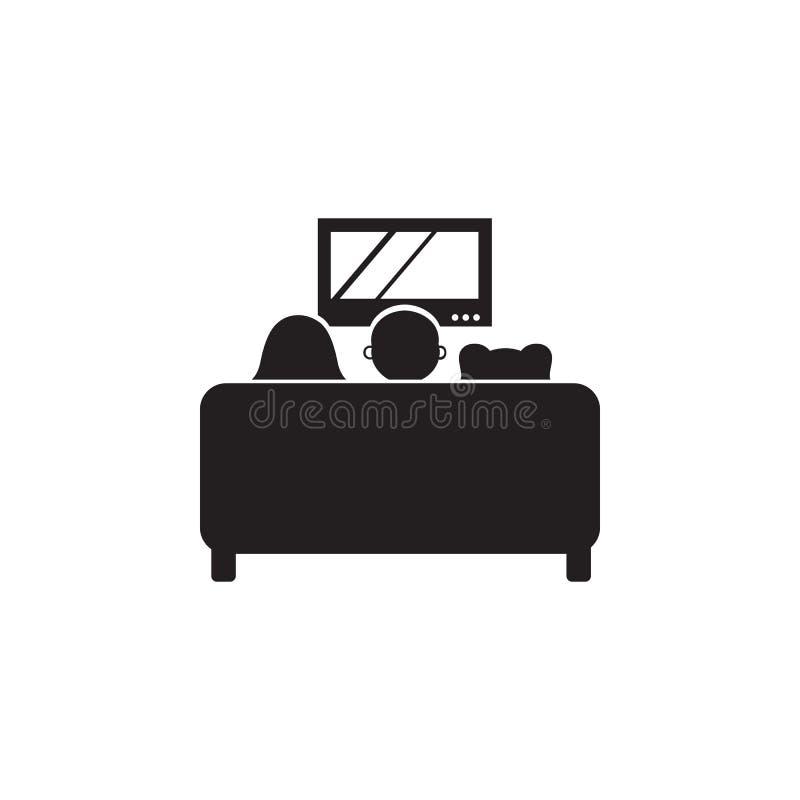 rodzinny ogląda TV na leżanki ikonie Ilustracja wartości rodzinnej ikona Premii ilości graficzny projekt Znaki i symbol ikona f ilustracji