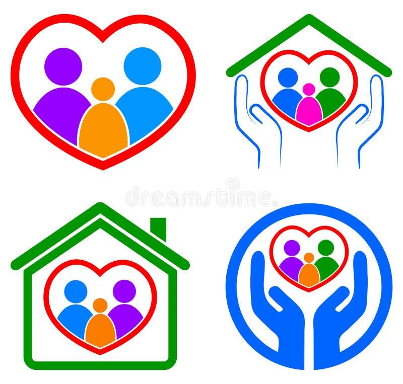 Rodzinny opieka logo royalty ilustracja
