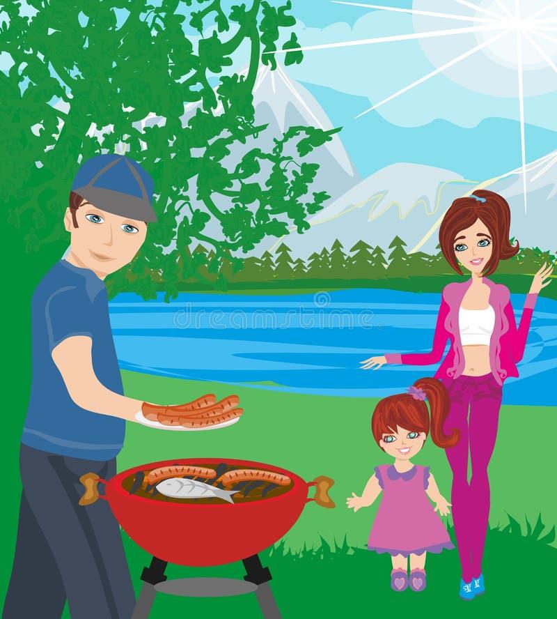 Rodzinny pinkin BBQ przyjęcie ilustracji