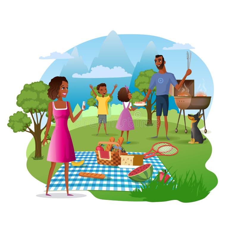 Rodzinny pinkin w park narodowy kreskówki wektorze royalty ilustracja