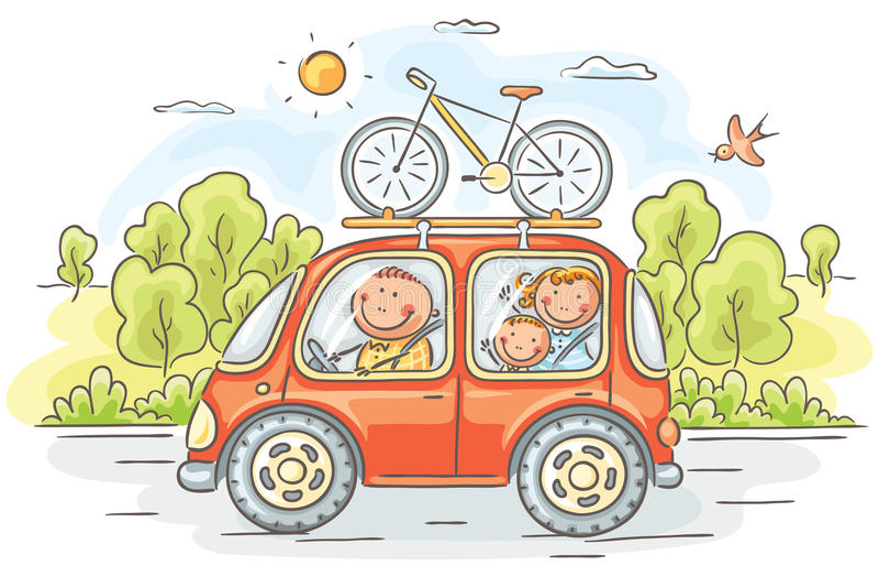 Rodzinny podróżowanie samochodem w wsi royalty ilustracja