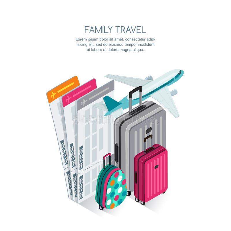 Rodzinny podróży i wakacje pojęcie Wektoru 3d isometric ilustracja kolorowy bagaż, samolotowi bilety i samolot, royalty ilustracja