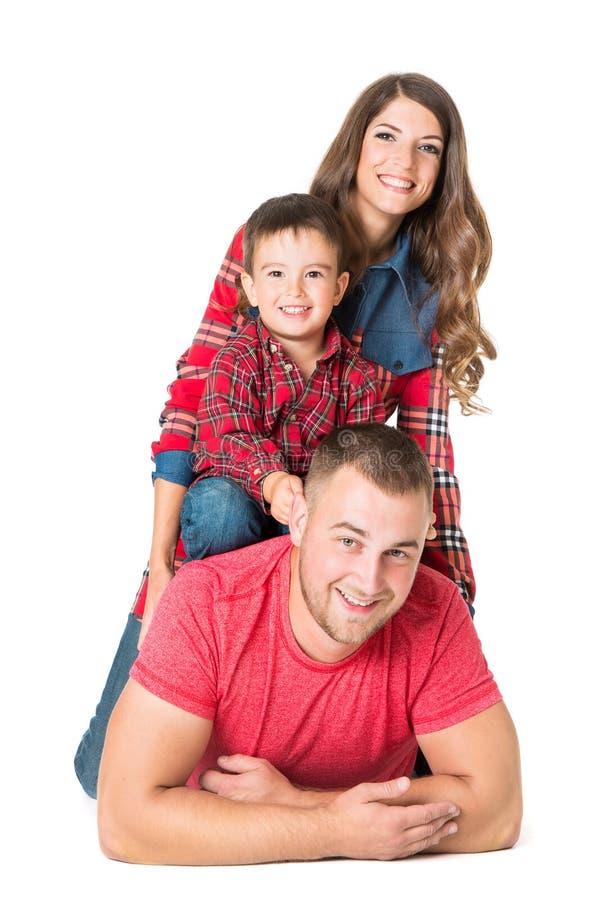Rodzinny portret, Macierzysta ojca dziecka chłopiec, biel Odizolowywający zdjęcie stock