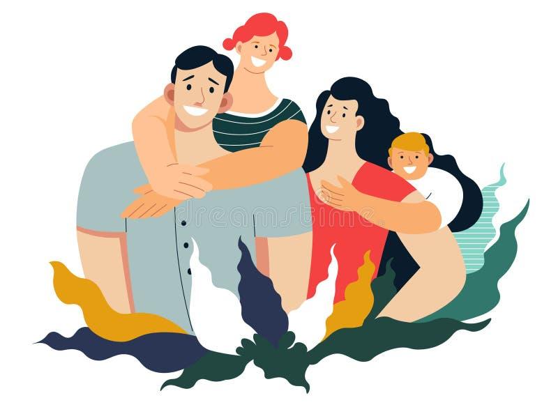 Rodzinny portret matki ojca syn i córka odizolowywaliśmy charaktery ilustracja wektor