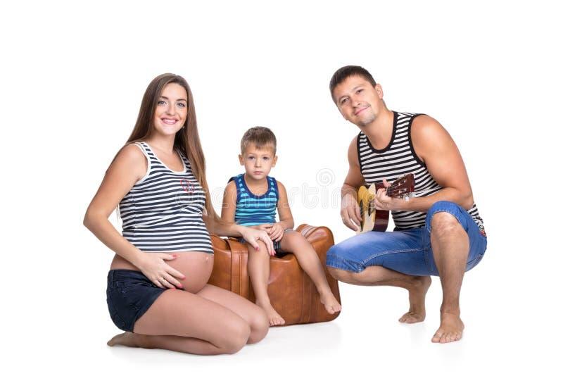 Rodzinny portret z gitarą zdjęcie stock