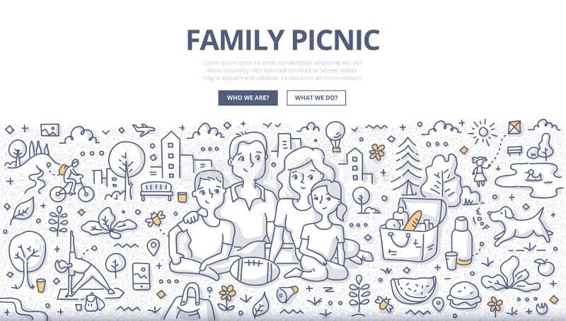 Rodzinny Pykniczny Doodle pojęcie royalty ilustracja