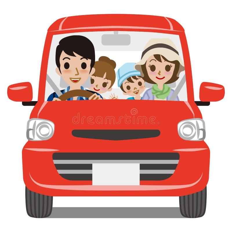 Rodzinny Samochodowy jeżdżenie - Frontowy widok ilustracji