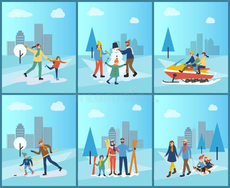 Rodzinny Snowmobiling, narciarstwo i Budować bałwan, royalty ilustracja