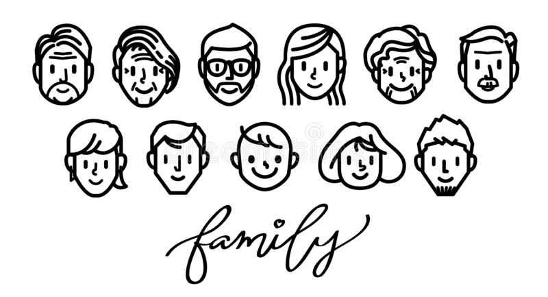 Rodzinny szczęście twarzy ikony set ilustracji
