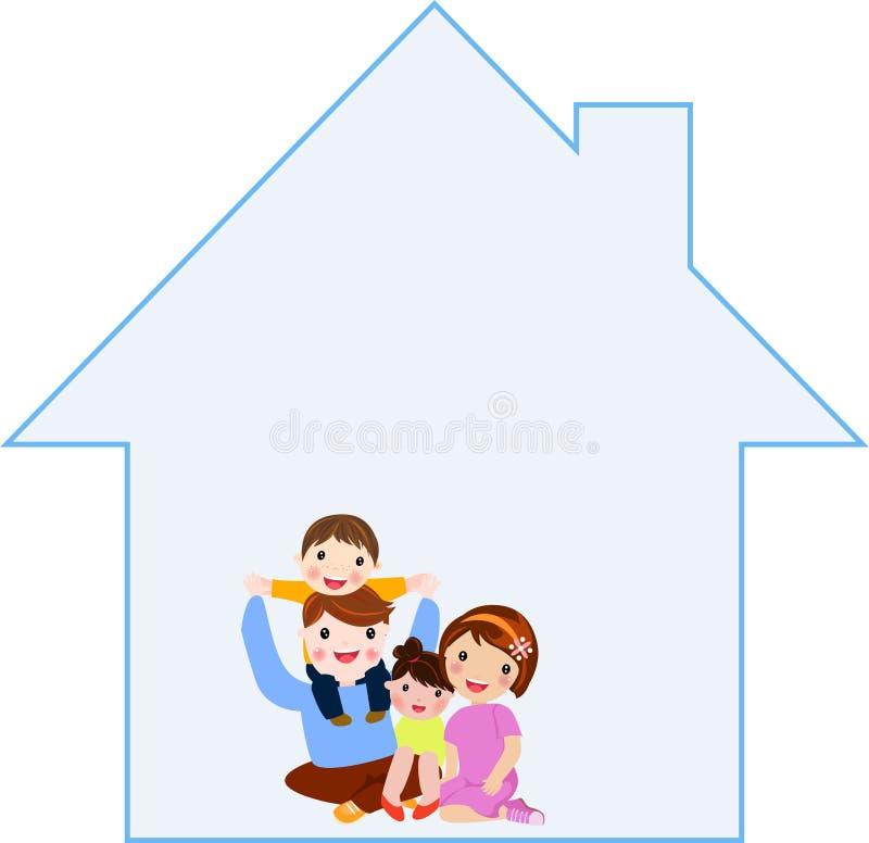 rodzinny szczęśliwy dom ilustracji